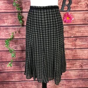 Anne Klein Skirt 6 Black Cream Plaid Check Silk